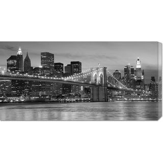 Global Gallery Unknown 'Brooklyn Bridge at Night' Stretched Canvas