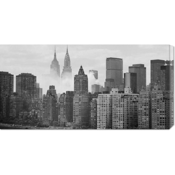 Global Gallery Unknown 'Empire and Chrysler Buildings Behind Skyline' Stretched Canvas