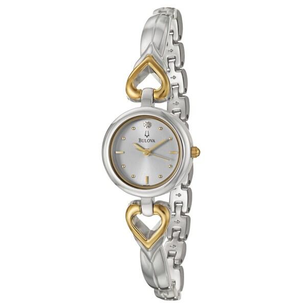 Bulova Women's 'Diamonds' Stainless Steel Goldtone Hearts Watch