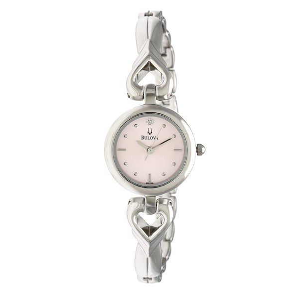 Bulova Women's 96P136 'Diamonds' Stainless Steel Hearts Pink Dial Watch