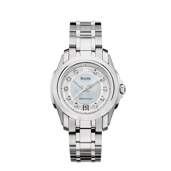 Bulova Women's 96P115 'Precisionist' Stainless Steel Diamond-Accent Watch