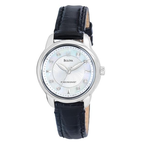 Bulova Women's 96P124 'Precisionist' Stainless Steel/ Black Leather Watch