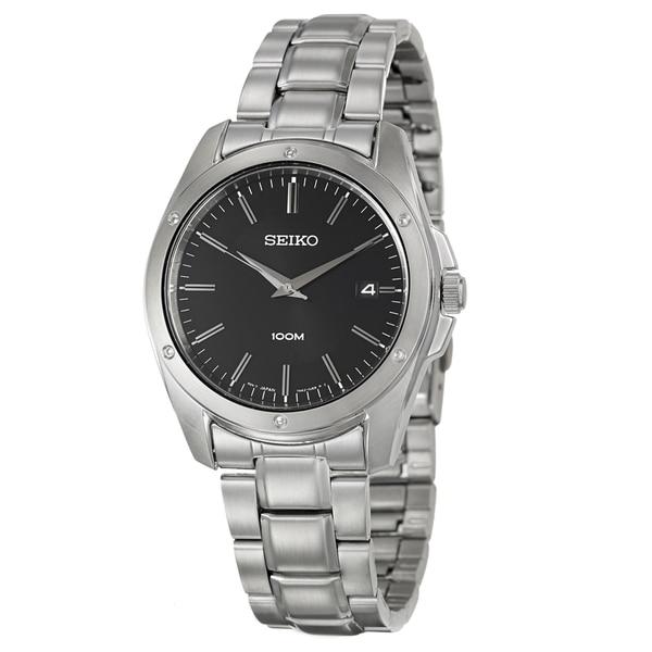 Seiko Men's 'Bracelet' Stainless Steel Black Dial Watch
