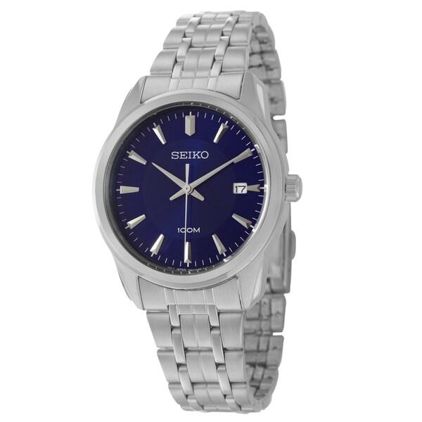 Seiko Men's 'Bracelet' Stainless Steel Blue Dial Watch