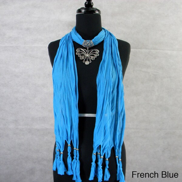 Fashion Jewelry Scarf with Stamped Silvertone Butterfly Pendant
