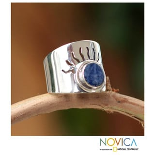 Sterling Silver 'Blue Sun' Sodalite Ring (Peru)