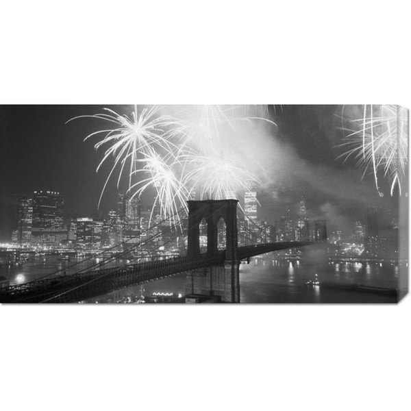 Global Gallery Unknown 'Fireworks over the Brooklyn Bridge' Stretched Canvas
