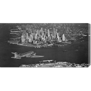 Big Canvas Co. Unknown 'Airplane flying towards Manhattan' Stretched Canvas