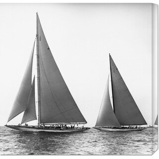 Global Gallery Edwin Levick 'Sailboats in the America's Cup, 1934' Stretched Canvas