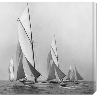 Global Gallery Edwin Levick 'Sailboats Sailing Downwind, 1920' Stretched Canvas Art