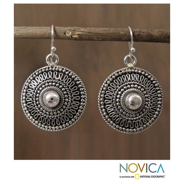Sterling Silver 'Ancient Sun' Earrings (India)