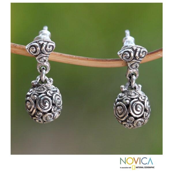 Handmade Sterling Silver 'Spiral Spheres' Earrings (Indonesia)