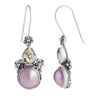 Sweet Frangipani Pink Freshwater Pearls and Citrines in Floral Setting of 925 Sterling Silver Womens Dangle Earrings (Indonesia)