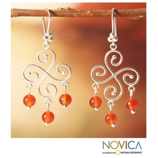 Sterling Silver 'Pinwheel' Carnelian Earrings (Peru)