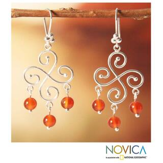 Handmade Sterling Silver 'Pinwheel' Carnelian Earrings (Peru)|https://ak1.ostkcdn.com/images/products/7569562/7569562/Sterling-Silver-Pinwheel-Carnelian-Earrings-Peru-P14999161.jpeg?impolicy=medium