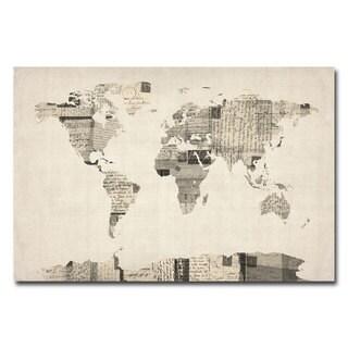 Michael Tompsett 'Vintage Postcard World Map' Canvas Art