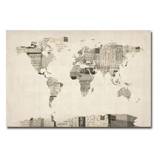 Map art gallery for less overstock michael tompsett vintage postcard world map canvas art gumiabroncs Images