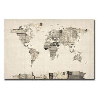 michael tompsett vintage postcard world map canvas art