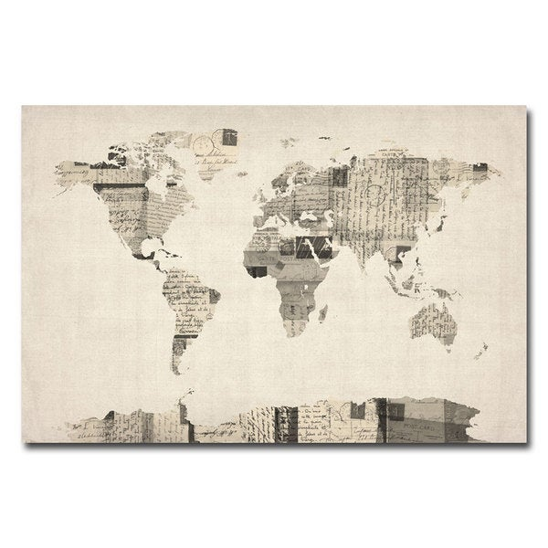 Michael Tompsett Vintage Postcard World Map Canvas Art Free - World map canvas