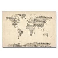 Michael Tompsett 'Old Sheet Music World Map' Canvas Art