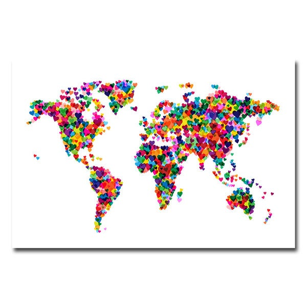 Shop michael tompsett love hearts world map canvas art on sale maps canvas art gallery wrapped canvas michael tompsett x27love amp hearts world gumiabroncs Image collections