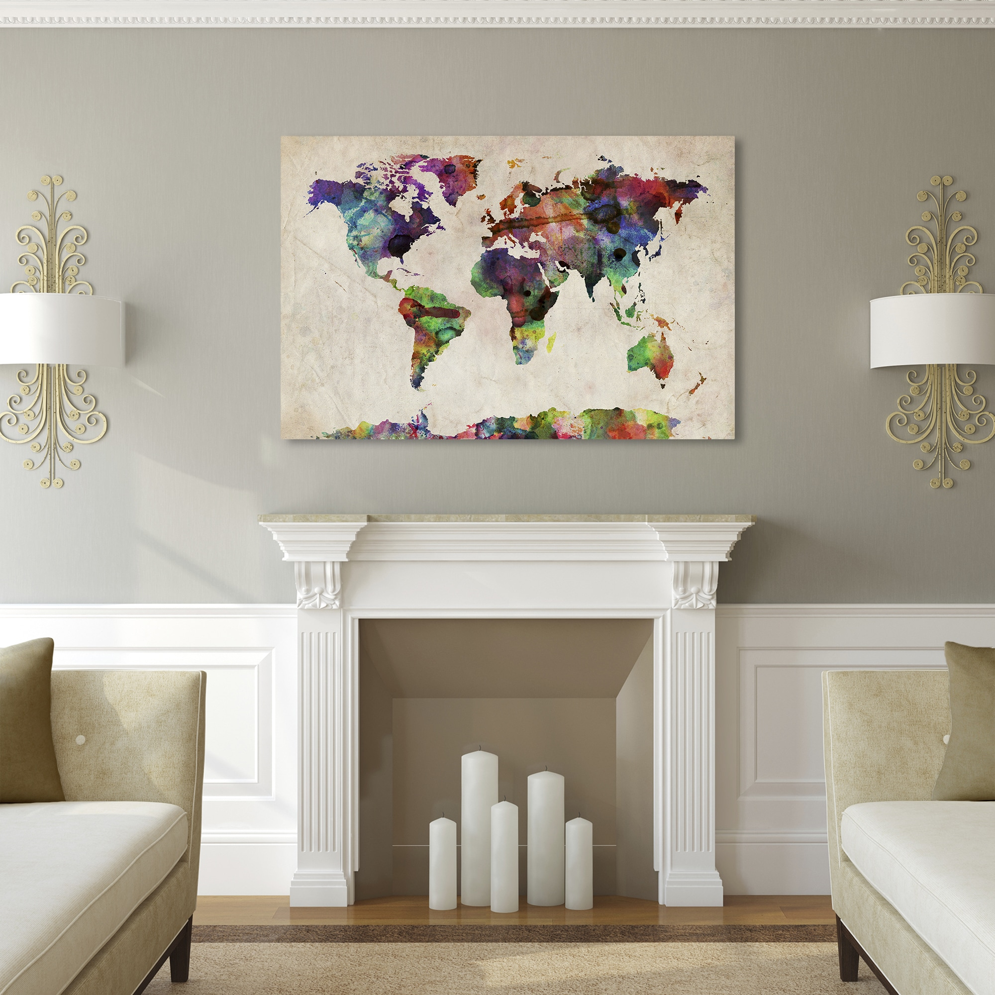 Shop michael tompsett urban watercolor world map canvas art free shop michael tompsett urban watercolor world map canvas art free shipping on orders over 45 overstock 7569570 gumiabroncs Image collections