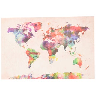 The Curated Nomad 'Urban Watercolor World Map' Canvas Art (3 options available)