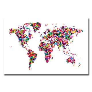 Michael Tompsett 'Butterflies World Map II' Canvas Art