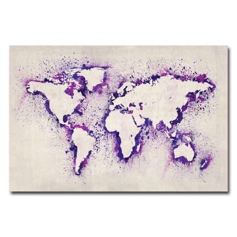 Michael Tompsett 'Paint Outline World Map II' Canvas Art