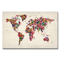 Michael Tompsett 'Butterflies World Map' Canvas Art - Multi