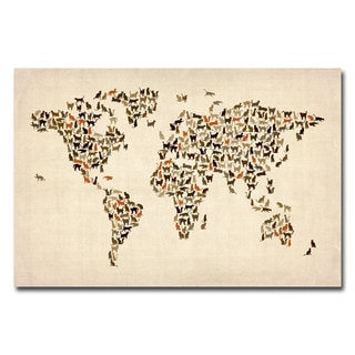 Michael Tompsett 'World Map of Cats' Canvas Art