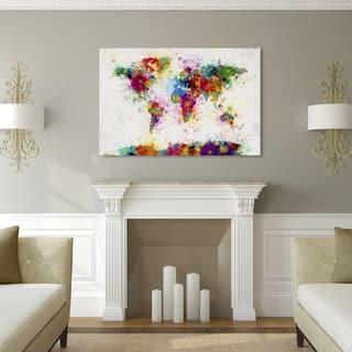 Size large map art gallery shop our best home goods deals online michael tompsett paint splashes world map canvas art gumiabroncs Images