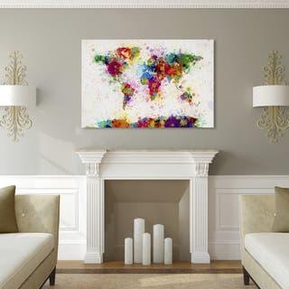 Michael Tompsett 'Paint Splashes World Map' Canvas Art