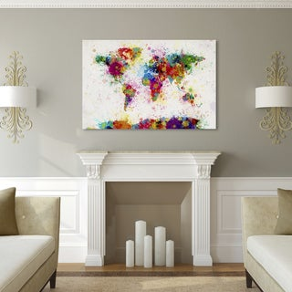 Michael Tompsett u0027Paint Splashes World Mapu0027 Canvas Art & Size Large Map Art Gallery | Shop our Best Home Goods Deals Online ...