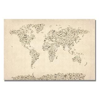 Michael Tompsett 'Music Note World Map' Canvas Art