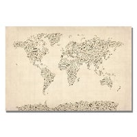 Michael tompsett antique world map canvas art free shipping michael tompsett music note world map canvas art gumiabroncs Gallery