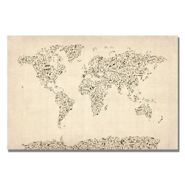 Shop michael tompsett music note world map canvas art on sale maps canvas art gallery wrapped canvas michael tompsett x27music note world gumiabroncs Image collections