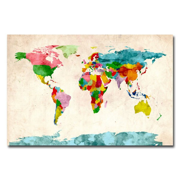 Michael Tompsett Watercolor World Map Canvas Art Free Shipping - World map canvas
