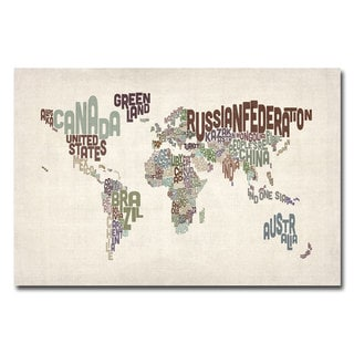 Michael Tompsett 'World Text Map' Gallery-Wrapped Canvas Art
