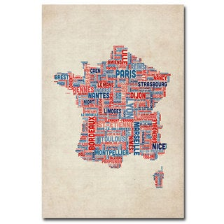 Michael Tompsett 'France - Cities Text Map' Canvas Art - Multi