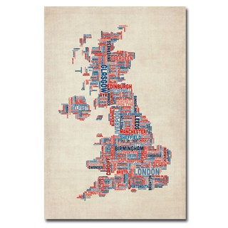 Michael Tompsett 'UK - Cities Text Map' Canvas Art