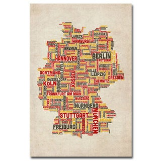 Michael Tompsett 'Germany - Cities Text Map' Canvas Art