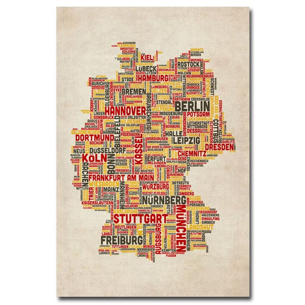 Map Of Germany Today.Shop Michael Tompsett Germany Cities Text Map Canvas Art Multi
