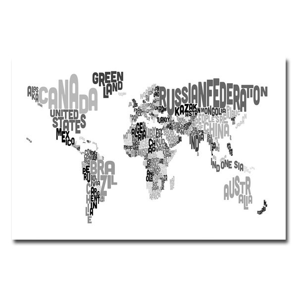 Michael Tompsett 'World Text Map' Canvas Art - Multi