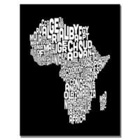 Michael Tompsett 'Africa Font Map' Canvas Art - Black/White