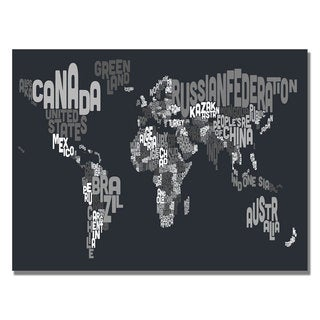 Michael Tompsett 'Font World Map VII' Canvas Art