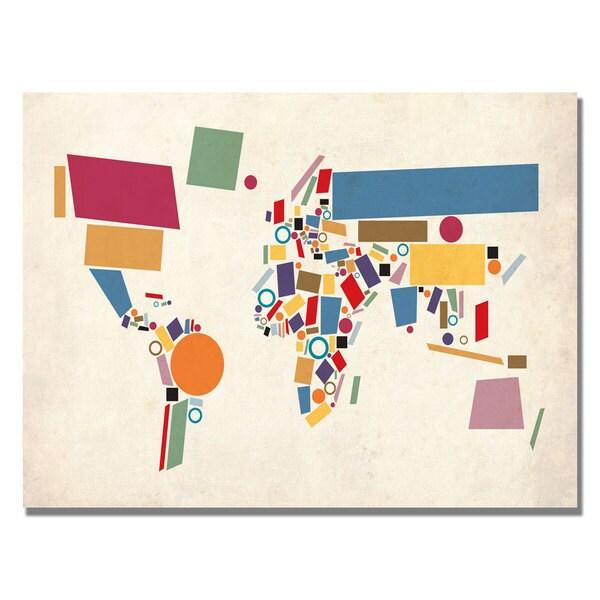 Michael Tompsett 'Abstract Shapes World Map' Canvas Art