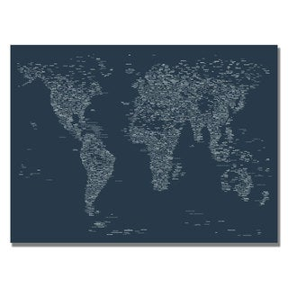 Michael Tompsett 'Font World Map VI' Canvas Art