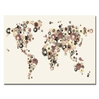 Michael Tompsett 'Flowers World Map' Canvas Art.