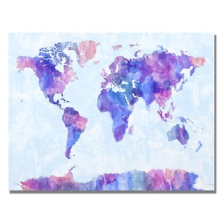 Michael Tompsett 'Watercolor World Map IV' Canvas Art